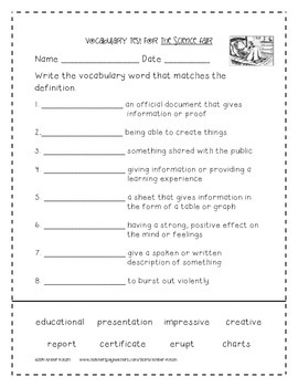 The Science Fair Activities 3rd Grade Journeys Unit 3, Lesson 12 (2011 version)