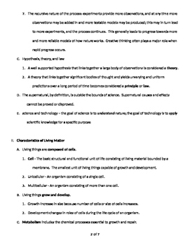 The Science of Biology - Quick Review Outline and Handout
