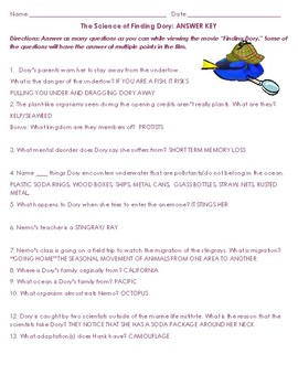 The Science of Finding Dory~Movie Worksheet