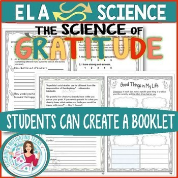 Science of Gratitude Editable Thanksgiving Mini-Lessons Middle & High School