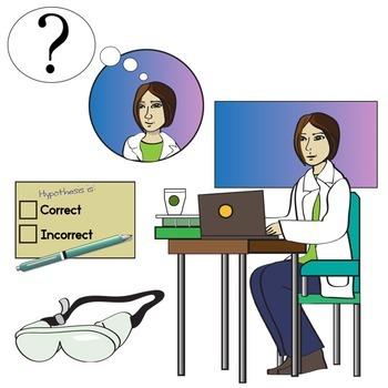 The Scientific Method Clip Art - Lab Setting - Scientist at Work