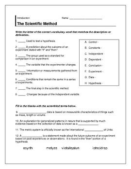 The Scientific Method Warm-up/ Crossword/ Vocabulary Sheet