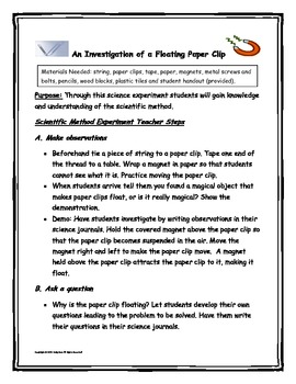 "The Scientific Method ""Investigating Floating Paper Clips"""