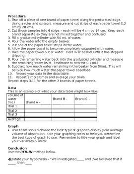 The Scientific Method Paper Towel Comparison Lab