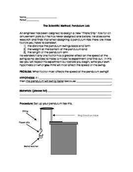 The Scientific Method - Pendulum Lab