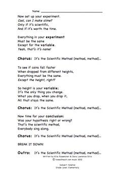 The Scientific Method Rap Companion Lyrics Sheet