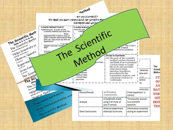 The Scientific Method Simple Song with 2 activities