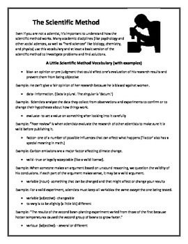 The Scientific Method and Science Vocabulary Worksheets