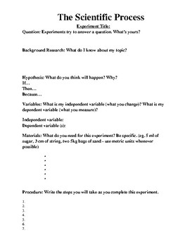 The Scientific Process - A Template for grade 4 and 5