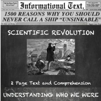 The Scientific Revolution--Informational Text Worksheet