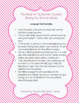 The Scoop On My Summer- Speech Therapy Back To School Craft/Bulletin Board