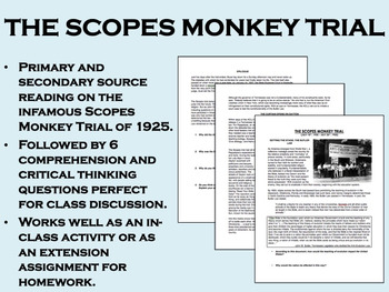 The Scopes Monkey Trial - 1920s - US History/APUSH