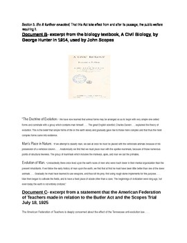 The Roaring 20's: The Scopes Trial Documents and Essay Prompt