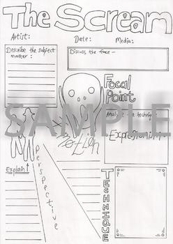 The Scream by Edvard Munch Artwork Analysis Worksheet