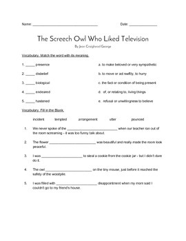 """""""The Screech Owl who Liked Television"""" QUIZ (Journeys Grade 4 Textbook)"""