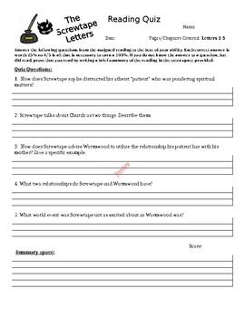 The Screwtape Letters Quiz 1 - Letters 1-5