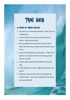 The Sea poetry activity