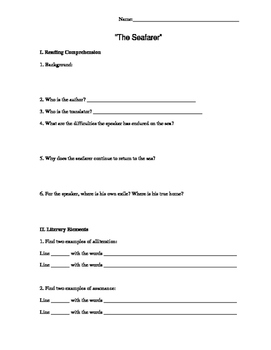 The Seafarer Worksheet