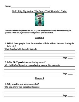 The Seals That Wouldn't Swim Comprehension Packet TTQA