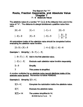 The Search For 1 - Roots, Fractional Exponents, and Absolute Value