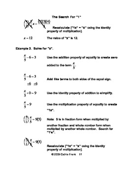 The Search For 1 - Solving Equations