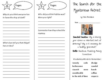 The Search for the Mysterious Patriot Trifold - Open Court 5th Gr Un 5 Lesson 3