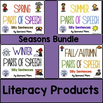 The Seasons Parts of Speech Silly Sentences Bundle
