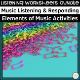 Themed Music Listening Worksheets Bundle