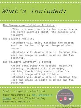 The Seasons and Holidays - Activity