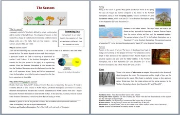 The Seasons and What Causes Them - Grade 5-7 Science Reading Article