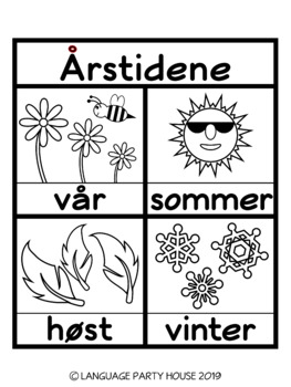 The Seasons in Norwegian Poster and Printables