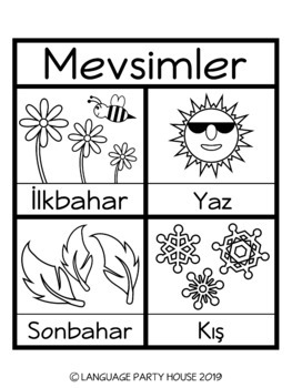 The Seasons in Turkish Poster and Printables