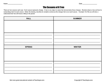 The Seasons of a Tree Writing Assignment