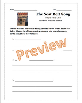 The Seat Belt Song written by Jenny Giles guided reading work