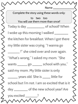 The Second Day of School - Back to School Activity