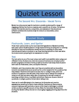 The Second Mrs. Giaconda - Quizlet Lesson - Vocab Terms