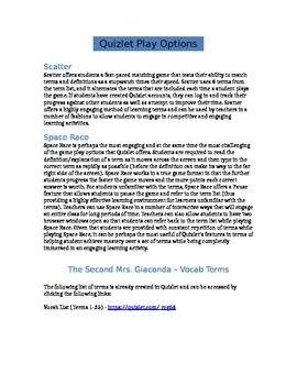 The Second Mrs. Giaconda - Quizlet Lesson - Vocab Terms