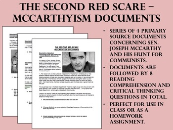 The Second Red Scare - McCarthyism Documents - US History/APUSH