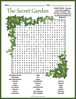 secret garden word search puzzle by puzzles to print tpt. Black Bedroom Furniture Sets. Home Design Ideas