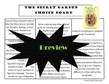 The Secret Garden Choice Board Novel Study Activities Menu Book Project Rubric