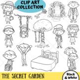 The Secret Garden Clip Art (BLACK AND WHITE ONLY)