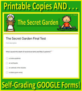 The Secret Garden Novel Study - FREE Sample of Chapter Questions and Test