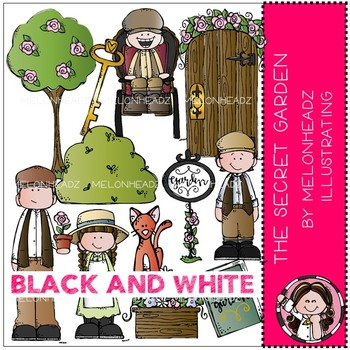 The Secret Garden clip art - BLACK AND WHITE - Melonheadz Clipart