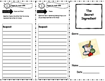 The Secret Ingredient Storytown Comprehension Trifold