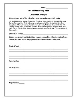 The Secret Life of Bees - Character Analysis Activity - Sue Monk Kidd