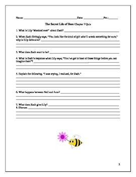 The Secret Life of Bees Quiz Pack Chapters 7-14