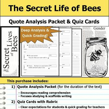 The Secret Life of Bees - Quote Analysis & Reading Quizzes