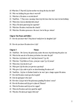 The Secret Life of Bees Reading Questions - Sue Monk Kidd