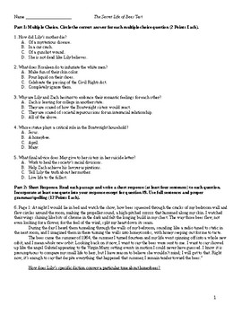 The Secret Life of Bees Test (Multiple Choice, Analysis Questions)