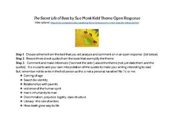 The Secret Life of Bees Theme Open Response Assignment w/ Rubric to Score